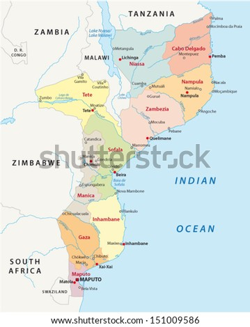 Mozambique Administrative Map Stock Vector 151009586 Shutterstock
