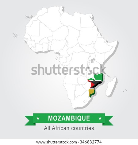 Mozambique. All the countries of Africa. Flag version. - stock vector