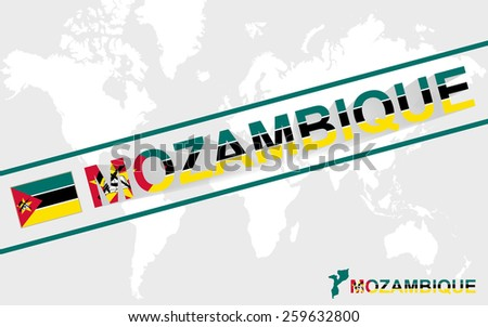 Mozambique map flag and text illustration, on world map - stock vector