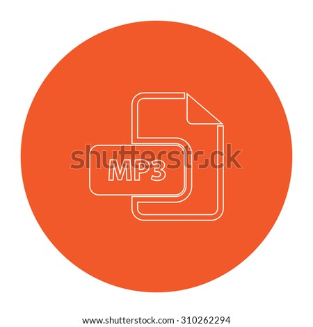 MP3 audio file extension. Flat outline white pictogram in the orange circle. Vector illustration icon - stock vector