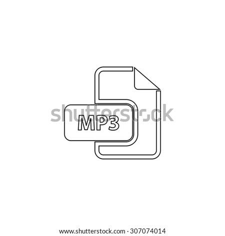 MP3 audio file extension. Outline black simple vector pictogram - stock vector
