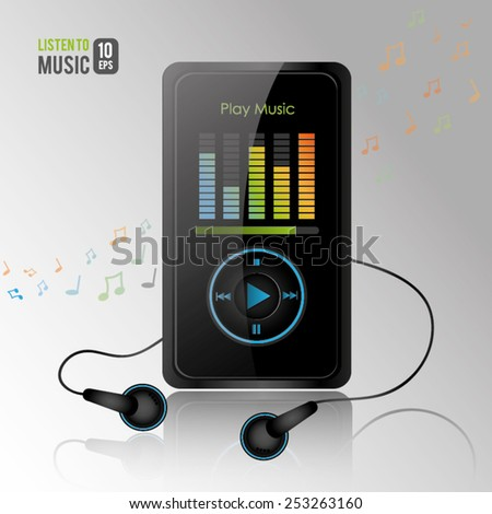 Mp3 music player in gray background; Vector Illustration - stock vector