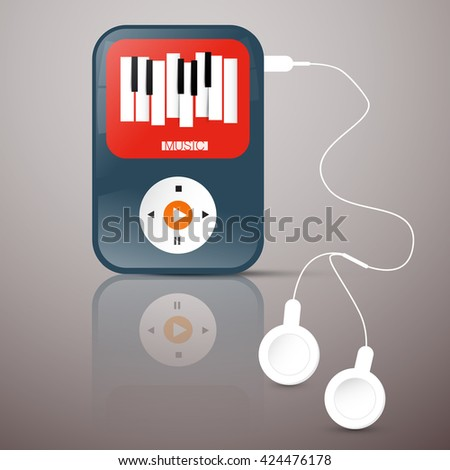 MP3 Player. Abstact Vector Music Player with Headphones. Music Player Illustration with Abstract Keyboard Symbol on Screen. - stock vector