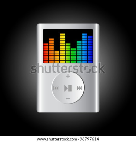 Mp3 player on black background - stock vector