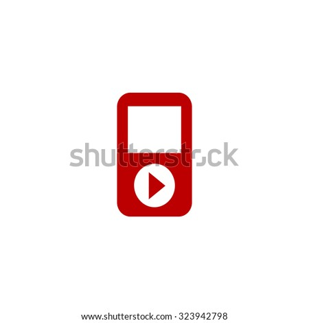 MP3 player. Red flat icon. Vector illustration symbol - stock vector