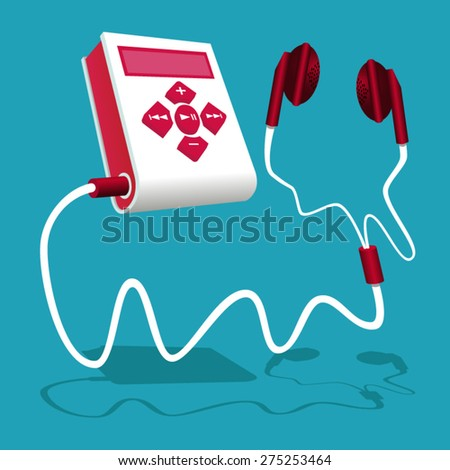 Mp3 player white red pink with earphone - stock vector