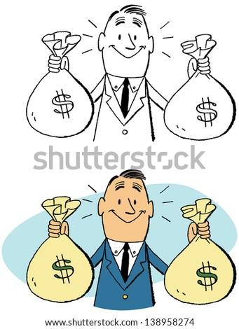 Mr. Moneybags - stock vector