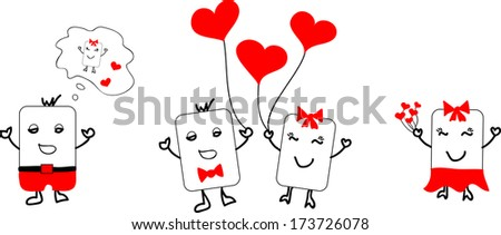 MR & MRS cute characters for Valentines - stock vector