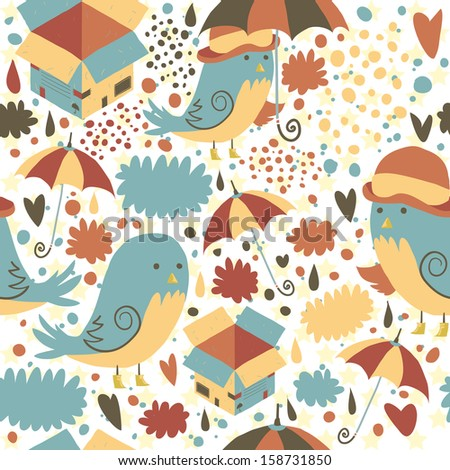 Mr Sparrow with Umbrella and box seamless pattern. Vector art for web page backgrounds, postcards, greeting cards, invitations, wedding, pattern fills, surface textures. Awesome for children bedroom.