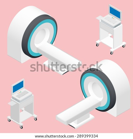 MRI and ECG medical devices isometric icon set vector graphic illustration - stock vector