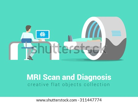 MRI scan and diagnostics process. Hospital patient and doctor in procedure room interior. Creative people healthy lifestyle collection. - stock vector