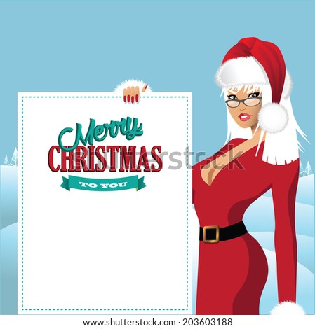 Mrs. Santa Claus with placard background EPS 10 vector.  - stock vector