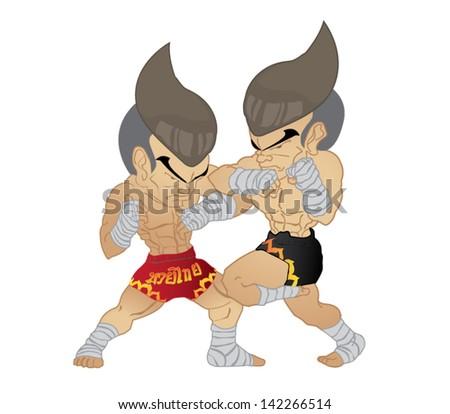 Muay Thai : Elbow strike VS Elbow strike and knee strike - stock vector