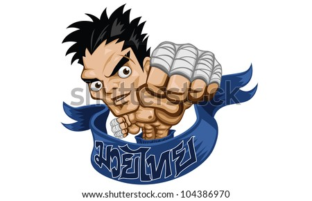 muay thai fight boxing vector illustration - stock vector