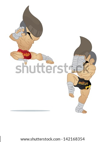 Muay Thai : Jump Kick VS A guarded stance - stock vector
