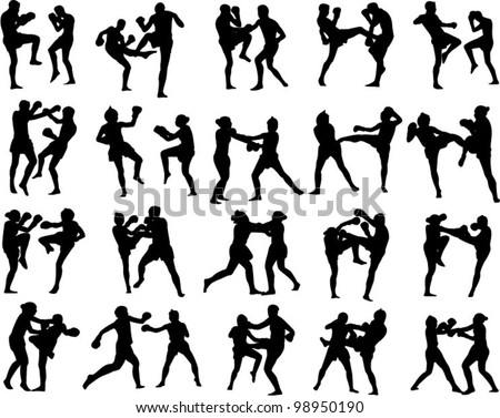 Muay Thai martial art vector illustration collection - stock vector