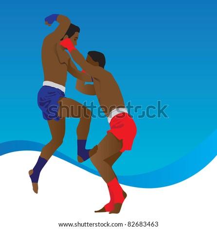 Muay Thai martial arts world - stock vector