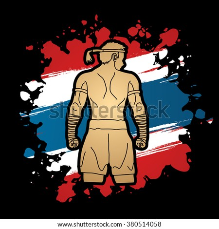 Muay Thai, Thai Boxing, Sport pose, design on Thailand Flag background graphic vector. - stock vector