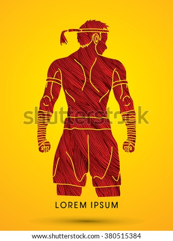 Muay Thai, Thai Boxing, Sport pose, design using red grunge brush graphic vector. - stock vector
