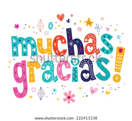 muchas gracias many thanks in Spanish card - stock vector