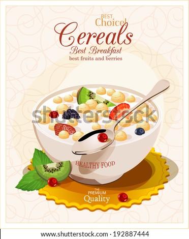 Muesli with fruit and berries. - stock vector
