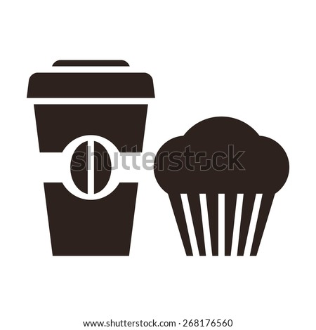 Muffin and coffee to go icon isolated on white background - stock vector
