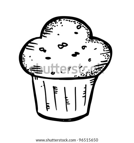 muffin doodle - stock vector