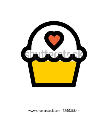 Muffin, tart, heart, valentine's day, love line icon. Pixel perfect fully editable vector icon suitable for websites, info graphics and print media. - stock vector