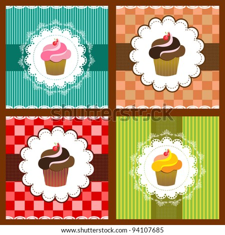 Muffins - stock vector
