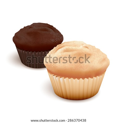 MUFFINS, detailed vector illustration