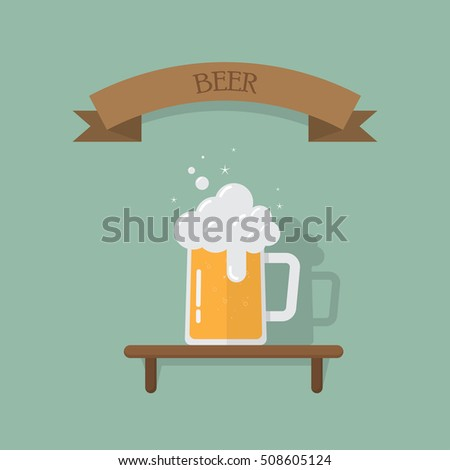 Mug beer in glass on shelf with label text ,Mug of beer in flat style,vector eps10