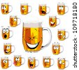 Mug fresh beer  cartoon with cap of foam isolated on white background - stock vector