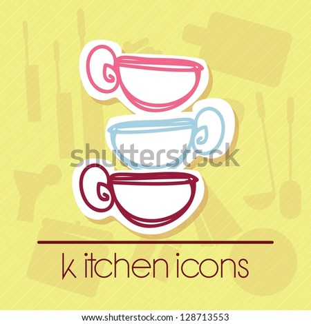 Mug hand drawn. With retro colors. Vector illustration