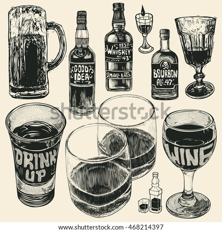 Mug Of Beer, Three Bottles, Shot Of Alcohol Strong Drink, Glass Of Wine And Whiskey In Two Glasses. Hand Drawn Design Element Set. Vector Illustration.