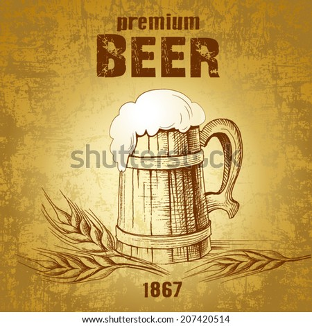 mug of beer. vintage mug.ear of wheat - stock vector