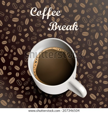Mug of coffee on a background coffee grains. Vector illustration - stock vector