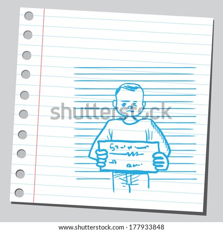 Mug shot criminal man - stock vector