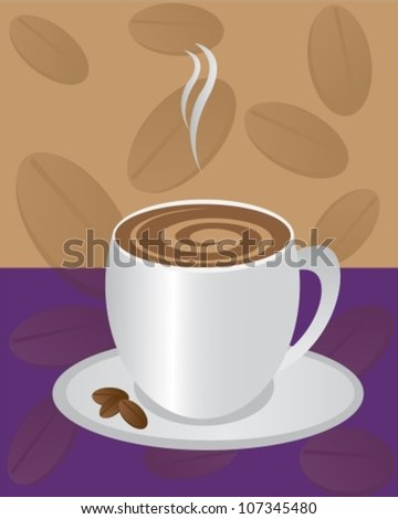 mug with coffee drink and a small dish of coffee beans - stock vector