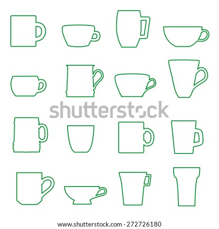 mugs and cups black outline icons set eps10 - stock vector