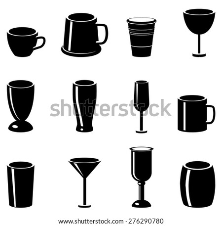 Mugs, cup, glass and chalis vector icons