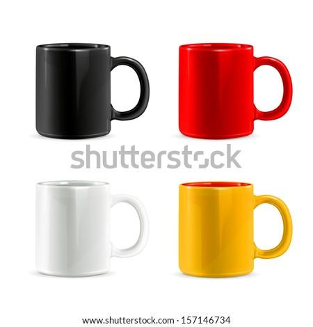 Mugs vector set - stock vector