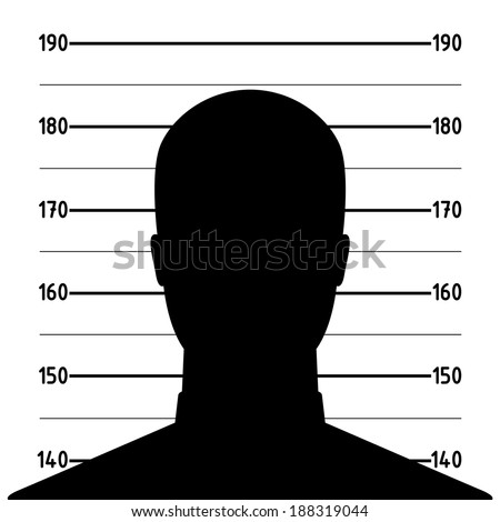 Mugshot or police lineup picture of anonymous man silhouette - stock vector