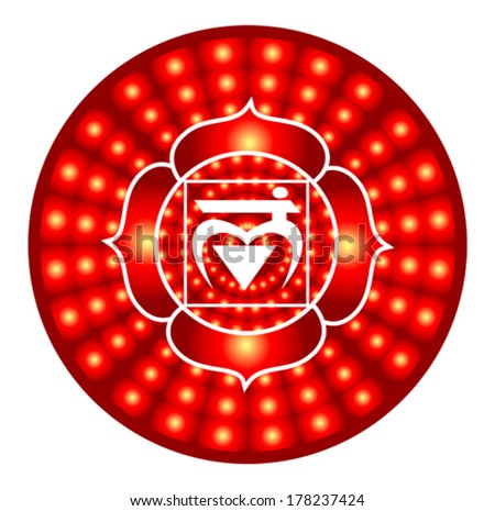Muladhara chakra round vector illustration - stock vector
