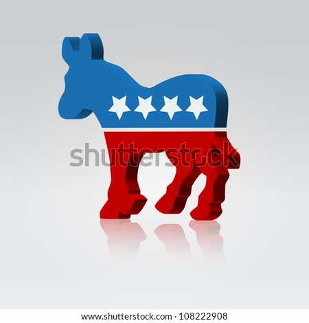 Mule silhouette american voting campaign illustration - stock vector
