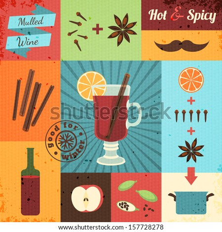 Mulled wine design set. Vector illustration, eps10. - stock vector