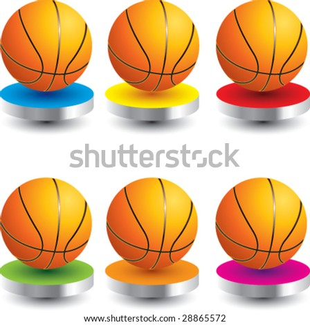 multi color presentation for basketballs - stock vector