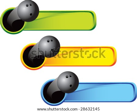 multi color thrown bowling ball web banner