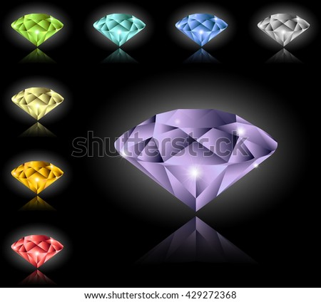Multi-colored gems set. There is an option in the vector.