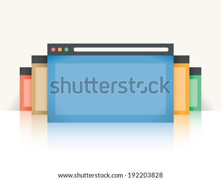 Multi colored internet browser windows with reflection with copy space for your text. Idea - Mobile internet, Cloud computing, HTML Programming - stock vector