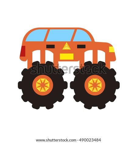 multi colored monster truck suv flat design illustration editable image